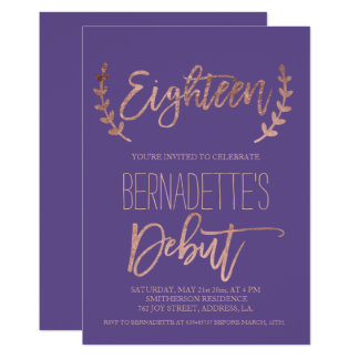 Rose gold typography debut purple 18th Birthday Card