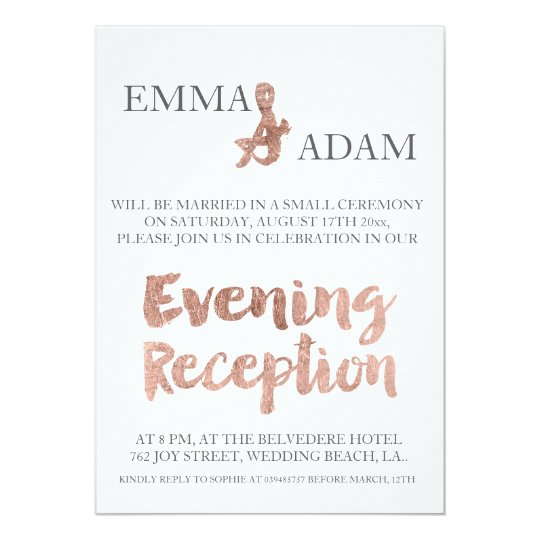 Rose gold typography evening wedding faux foil card