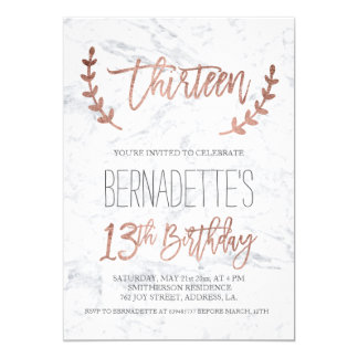 Rose gold typography feathers marble 13th Birthday Card
