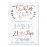 """Rose gold typography feathers marble 21st Birthday 5"""" X 7"""" Invitation Card"""