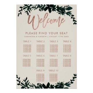 Rose gold typography Floral ivory wedding seating Poster