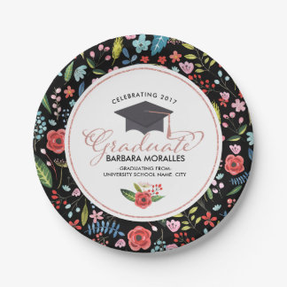 Rose-gold Typography Graduate-Colorful Flowers Paper Plate