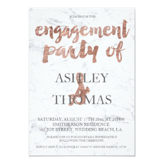 Rose gold typography marble engagement party 2 card