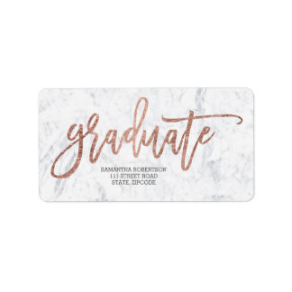 Rose gold typography marble graduation label