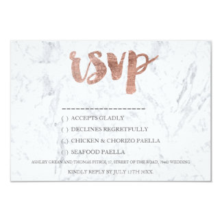 """Rose gold typography marble song RSVP Wedding 3.5"""" X 5"""" Invitation Card"""