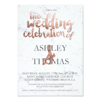 Rose gold typography marble wedding card