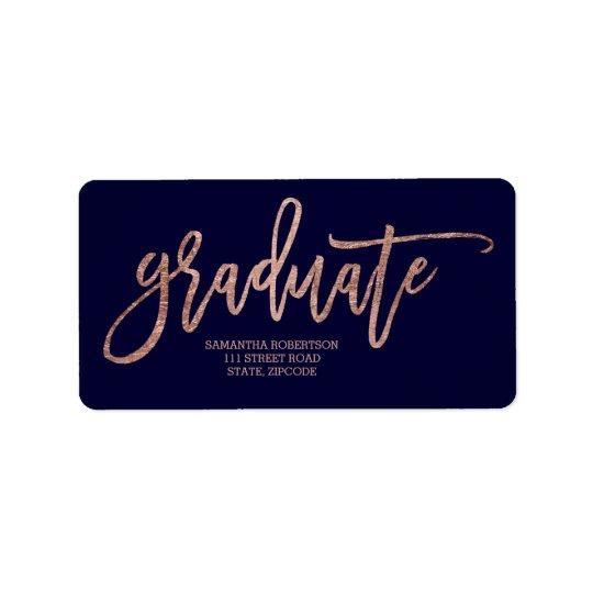 Rose gold typography navy blue graduation label