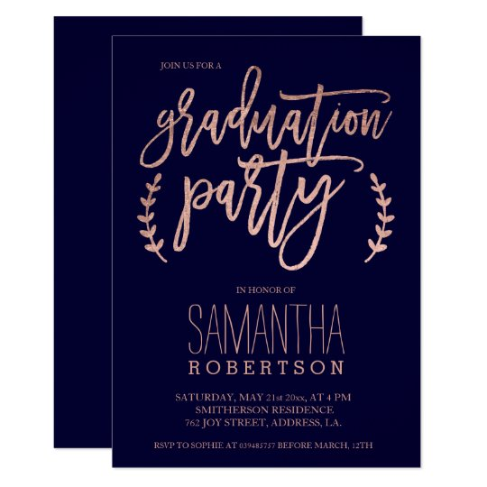 Rose gold typography navy blue graduation party card