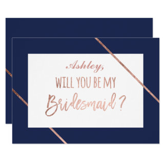 Rose gold typography stripes navy be my bridesmaid card