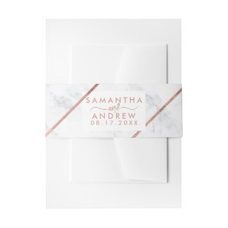 Rose gold typography stripes white marble wedding invitation belly band
