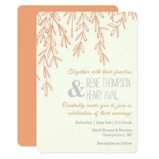 Rose Gold Vines Minimalist Wedding Invitation