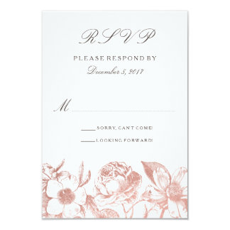 Rose Gold Vintage Floral RSVP card
