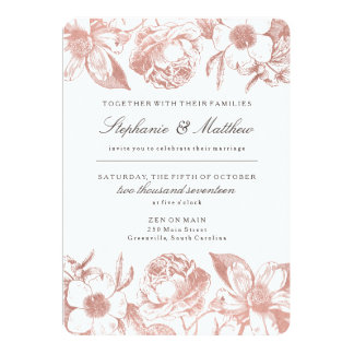 Rose Gold Vintage Floral Wedding Invitation
