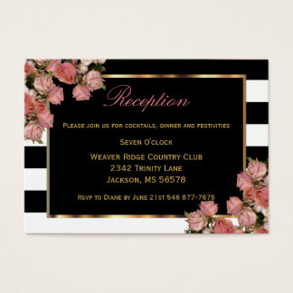 Rose Gold Wedding Black & White Stripe - Reception Business Card