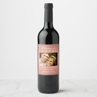 Rose Gold Wedding Photo Wine Bottle Favour Wine Label