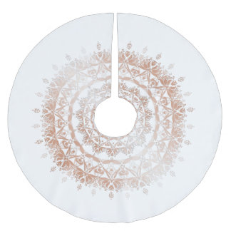 Rose Gold White Damask Mandala Brushed Polyester Tree Skirt