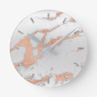 Rose Gold White Gray Carrara Marble Stone Copper Round Clock