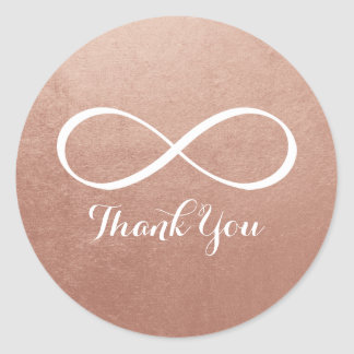 Rose Gold White Infinity Symbol Thank You Classic Round Sticker