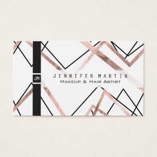 Rose Gold White Linear Triangle Abstract Pattern Business Card