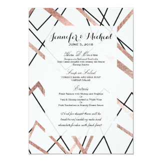 Rose Gold White Linear Triangle Abstract Pattern Card