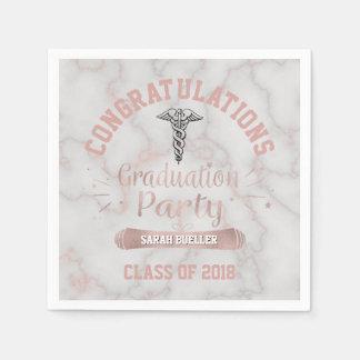 Rose Gold White Marble 2018 Nurse Graduation Party Napkin