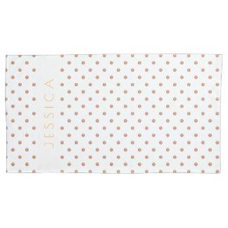 Rose-gold & White Polkadots Pattern Pillowcase