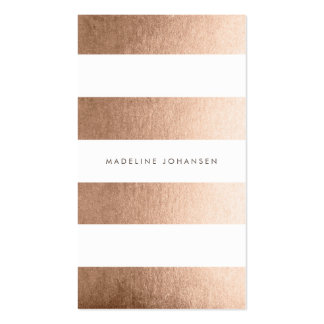Rose Gold White Stripes Hair Stylist Cards Business Card