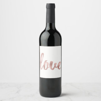 Rose gold wine label, love, foil wine label