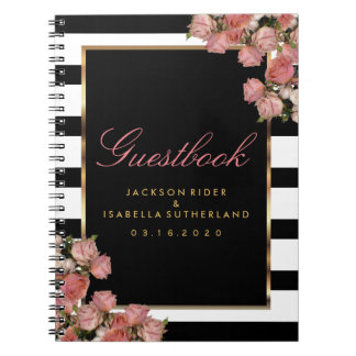Rose Gold with Black and White Stripes - Guestbook Notebooks