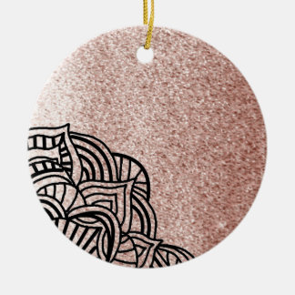 Rose Gold With Black Medallion Ceramic Ornament