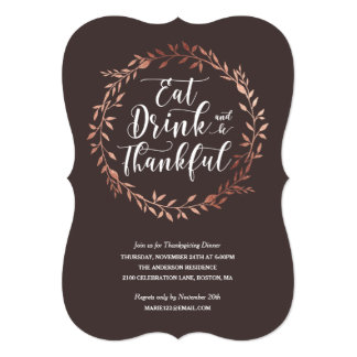 Rose Gold Wreath Thanksgiving Dinner Invitation
