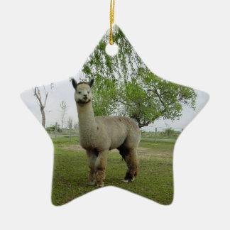 Rose grey alpaca christmas tree ornament