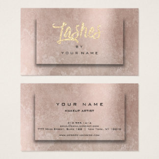 Rose Grungy Blush Glitter Typograph Makeup Lashes Business Card