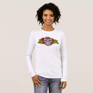 Rose Head Sugar Skull Long Sleeve T-Shirt