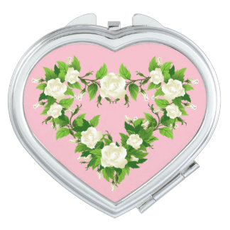Rose Heart Compact Mirror