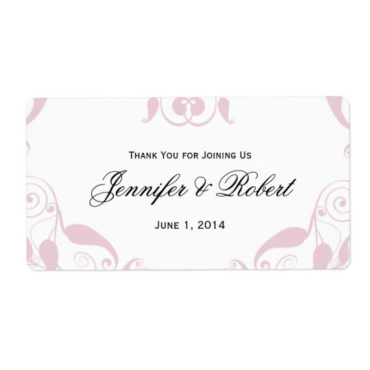 Rose Heart Floral Wedding Water Bottle Label