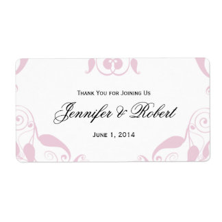 Rose Heart Floral Wedding Water Bottle Label Shipping Label