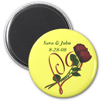 Rose Heart Save The Date Wedding Favor Magnet