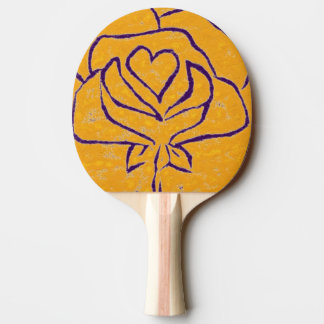 """""""Rose Heart Yellow - purple"""" Ping Pong Paddle"""