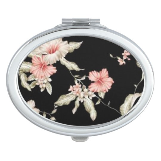 ROSE HIBISCUS FLOWER PATTERN FOR COMPACT MIRROR