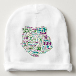 Rose illustrated with Love Word Baby Beanie