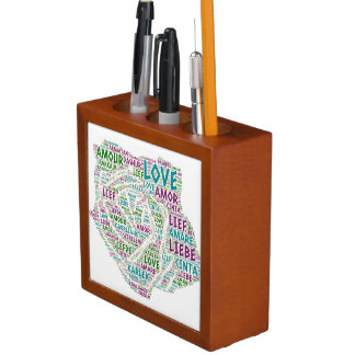 Rose illustrated with Love Word Desk Organizer