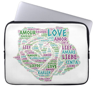 Rose illustrated with Love Word Laptop Sleeve