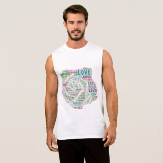 Rose illustrated with Love Word Sleeveless Shirt