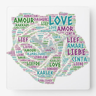 Rose illustrated with Love Word Square Wall Clock