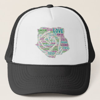 Rose illustrated with Love Word Trucker Hat