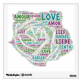 Rose illustrated with Love Word Wall Sticker