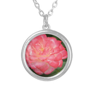 Rose in bloom silver plated necklace