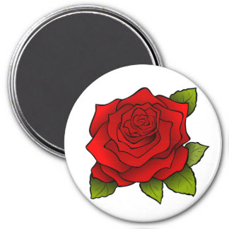 Rose in Full Bloom Round Magnet
