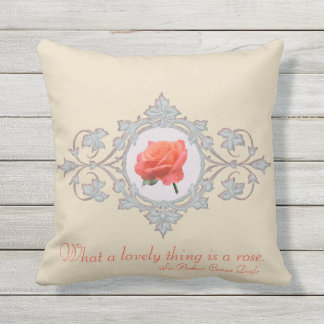 Rose in Ornate Circular Frame Throw Pillow